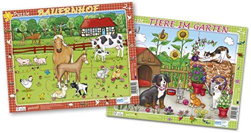 paletti Rahmenpuzzle Bauernhof, Tiere im Garten, 2er Set je 9 Teile Lernspiel