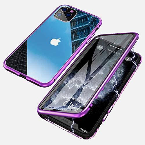 Jonwelsy Funda para iPhone 11 Pro MAX (6,5 Pulgada), Adsorción Magnética Parachoques de Metal con 360 Grados Protección Case Cover Transparente Ambos Lados Vidrio Templado Cubierta (Morado)