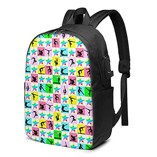 XCNGG Fierce Gymnast Business Laptop School Bookbag Travel Backpack with USB Charging Port & Headphone Port Fit 17 in