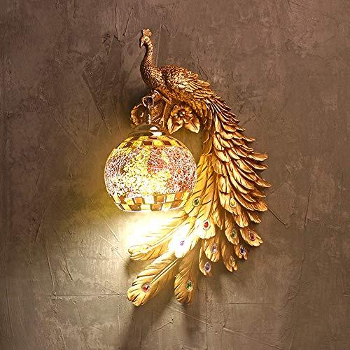 Kaper Go Lámpara De Pared De Cristal De Pavo Real Dorada Europea Retro LED Dormitorio Mesita De Noche Creativo Animal Escalera Pasillo Iluminación Decorativa (51 * 41 * 18 CM)