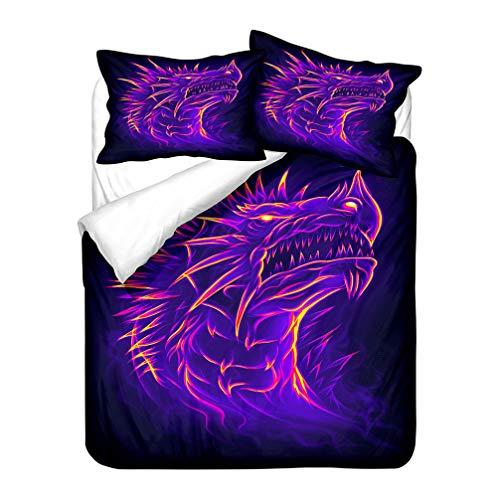 WENYA 3D Animal Dragon Bedding set Black Red Blue Orange Purple Duvet Cover and Pillowcase Polyester Soft Breathable Man Boy Child Adolescent (Style 3,Single 135x200 cm)