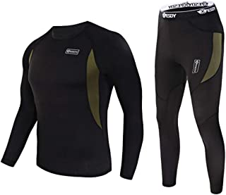 EXEKE SDY Men's Thermal Underwear Set Fleece Lined Long Johns Athletic Base Layer Top & Bottom
