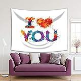 Henge Home Tapiz impreso de arte deportivo para el hogar, sala de estar, dormitorio, decoración duradera para colgar en la pared – I Love You colorido