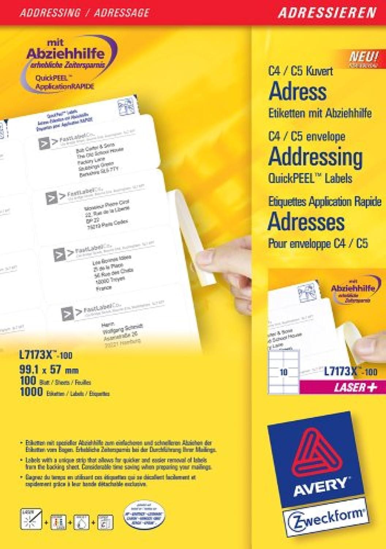 Avery Zweckform, L7173X-100, 100 Blatt, Blatt, Blatt, Adress-Etiketten mit Abziehhilfe für C4 KuGrüns, 99, 1 x 57 mm B0002S47F4   Sale Deutschland  f32713