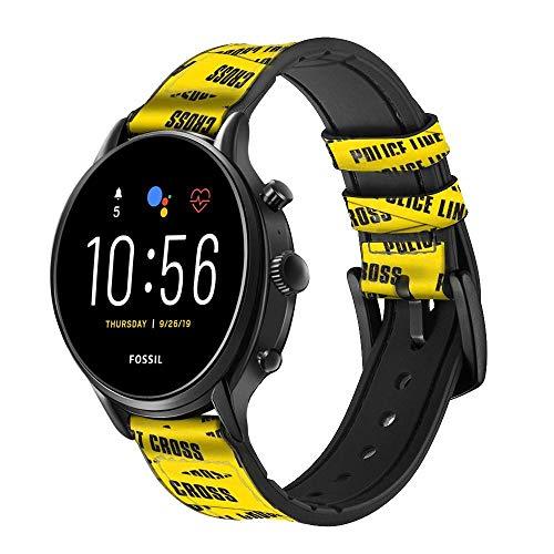Innovedesire Police Line Do Not Cross Correa de Reloj Inteligente de Cuero y Silicona para Fossil Wristwatch Tamaño (20mm)