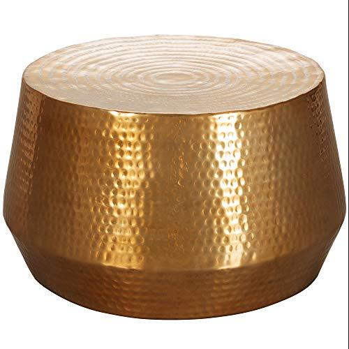 FineBuy Couchtisch MARESH 60 x 36 x 60 cm Aluminium Beistelltisch Orientalisch rund | Flacher Hammerschlag Sofatisch Metall | Design Wohnzimmertisch modern | Loungetisch indisch Stubentisch klein