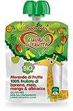 Cuore di Frutta Frullato Bio 100% di Banana, Mela, Mango e Albibocca, 12 Confezioni da 90 ...