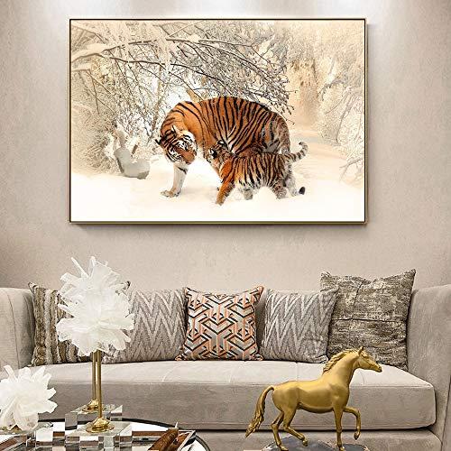QWESFX Tiere Wandkunst Leinwandbilder Tiger On The Snow Kunst Leinwanddrucke Wanddekoration Moderne dekorative Bilder Dekoration (Druck ohne Rahmen) A4 50x100CM