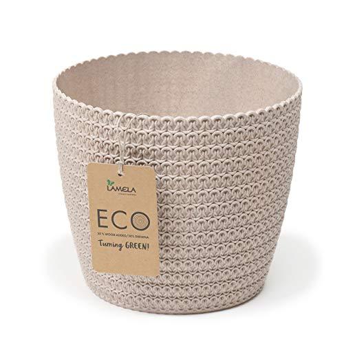 Lamela Cache-pot Magnolia Jersey Eco (+ 30 % bois) - Diamètre : 16 cm - Couleur : Lamela Eco Blanc (beige)   Pot de fleurs pour fleurs et plantes   Pot de fleurs en plastique tressé + 30 % bois.