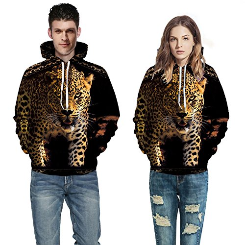 Fancybox Unisex Simulation Printing 3D Tiger Leopard Digital Print Sweater Pocket Hooded Sweatshirt for couple (M, Leopard 2)