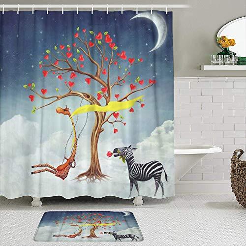 RUBEITA Stoff Duschvorhang und Matten Set,Green Moon The zeigt romantische Beziehungen zwischen Giraffe und Zebra Red Animal,Wasserabweisende Badvorhänge mit 12 Haken,rutschfeste Teppiche