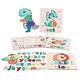 Fascol 6 PCS Puzzle de Madera con Alfabetos, Rompecabezas de Animales para Bebés Mayores de 1.5 Años, Juguete Montessori Preescolar de Aprendizaje para Niños y Niñas