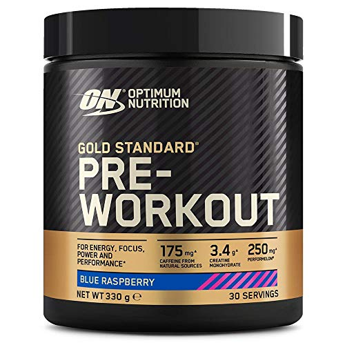 Optimum Nutrition Gold Standard Pre Workout en Polvo, Bebida Energética con Creatina Monohidratada, Beta Alanina, Cafeína y Vitamina B Complex, Frambuesa Azul, 30 Porciones, 330g