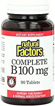 Natural Factors, Complete B 100 mg, Time Released Support for a Healthy Mood, Energy Levels, Skin, Hair and Vision, 90 tab...