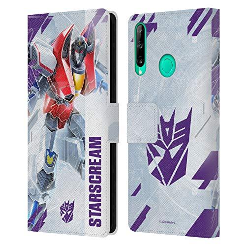 Head Case Designs Oficial Transformers Starscream Arte Clave Decepticons Carcasa de Cuero Tipo Libro Compatible con Huawei P40 Lite E