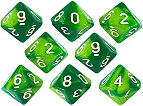 Paladin Roleplaying Marbled Green Dice - 8 D10 Set - 'Sylvan Glade'