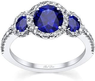Bel Dia Three Sapphire Diamond Halo Engagement Ring