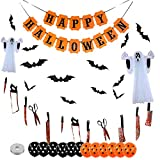 Halloween Balloons Garland Kit, 40 Pack Latex Balloons, Bat, Bloody Garland Banner, Hanging Ghost, Halloween Banner, Balloon Arch Set for Halloween Theme Party Home Haunted House Decorations Kids Gift