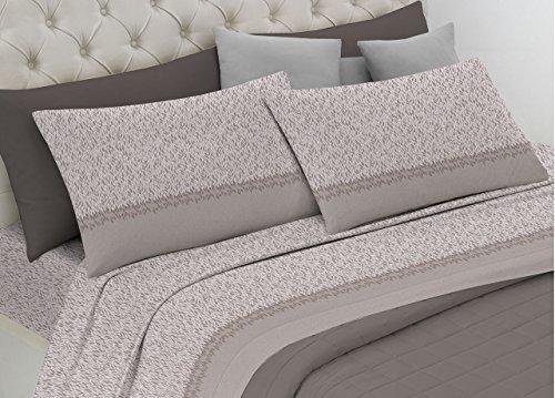 Parure de lit en flanelle ligne Dolcevita fantaisie pétales Matrimoniale beige