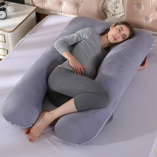 Almohada corporal de embarazo para dormir en forma de U con funda de algodón lavable, Gris, 70x130cm