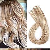 Silk-co Extensiones de Pelo Natural Adhesiva Cabello Humano (20PCS*1.5g) Tape in Hair Extensions 100% Remy Hair 30g-50cm 18P613# Ash rubio & Blanqueador rubio