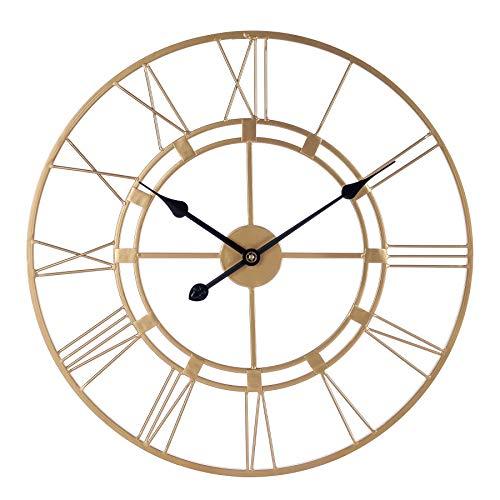 Mengshen Reloj De Pared Decorativo Grande, Estilo De Número Romano De Gran Tamaño Redondo De 60 cm para La Decoración del Hogar, Sala De Estar (Dorado)