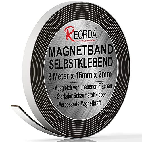 Reorda® Magnetband selbstklebend   Verbesserte Haftkraft durch starken Schaumstoffkleber   Magnetband mit optimierter Magnetkraft durch Anisotropic Material   Anwendbar in Küche, Schule & Büro