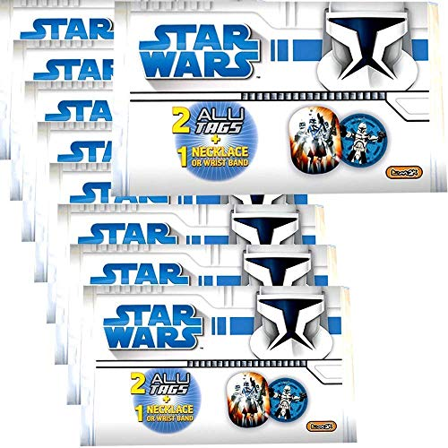 TE-Trend 9 Stück Wundertüte Star Wars Clone Wars Halskette Armband Alu Tag Plaketten Mitgebsel