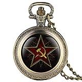 ZMKW Emblema del Partido del Pentagrama URSS Insignias soviéticas Martillo Hoz Reloj de Bolsillo de Cuarzo Negro Reloj del Comunismo del ejército Ruso Reloj, Bronce Retro