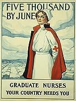 ブリキサイン大学院看護師ヴィンテージ鉄塗装金属板ノベルティ装飾クラブカフェバー