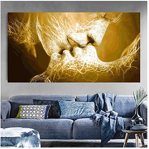 YANGMENGDAN Druck auf Leinwand Schwarz Liebe Kuss Leinwand Malerei Abstrakte Druckplakat Bilder Home Schlafzimmer Wohnzimmer Dekoration Wandkunst 40x70cmx1pcs Kein Rahmen 2