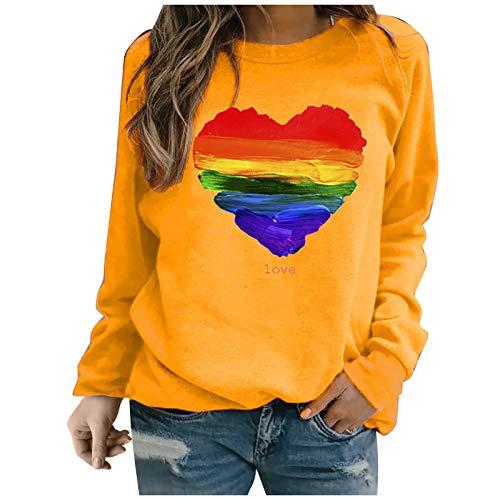 YANFANG Sudadera sin Capucha para Mujer, Moda Mujer Manga Larga Amor con Estampado de corazón de Color sólido Sweatershirt Blusa Suelta Tops, Yellow,S
