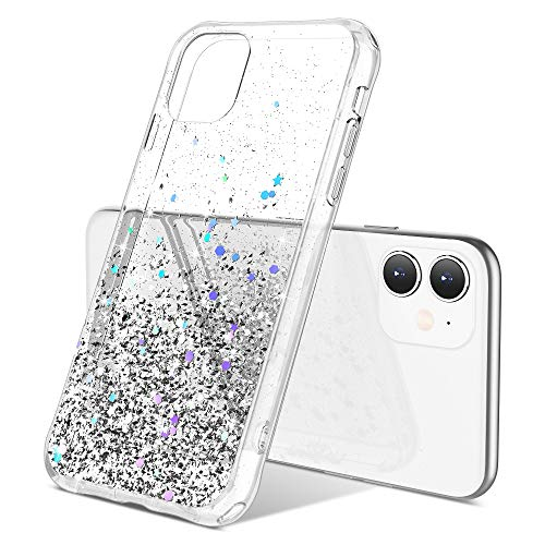 ULAK iPhone 11 Case, Luxury Shiny Glitter Clear Hybrid Protective Case Slim Fit Transparent Anti-Scratch Shock Absorption TPU Bumper Cover Designed Phone Case for iPhone 11 6.1 inch, Silver