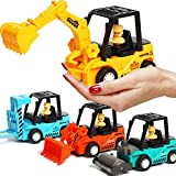 Construction Toys 4 Pack Set with Excavator, Bulldozer, Road...