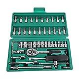 46Pcs Set di utensili per chiavi a bussola a cricchetto con manico per chiave Meccanica di riparazione automatica per automobile bicicletta