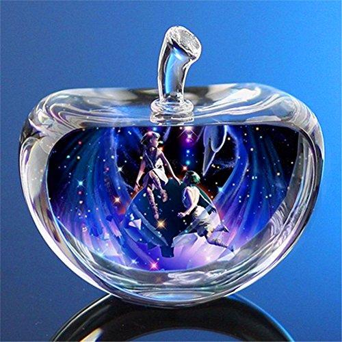 TYGJB 12 Constelaciones Estatuillas Cristal de Cristal Figuras de Manzana Miniatura de ángel Adornos Accesorios de decoración del hogar Manzana (Gemini)