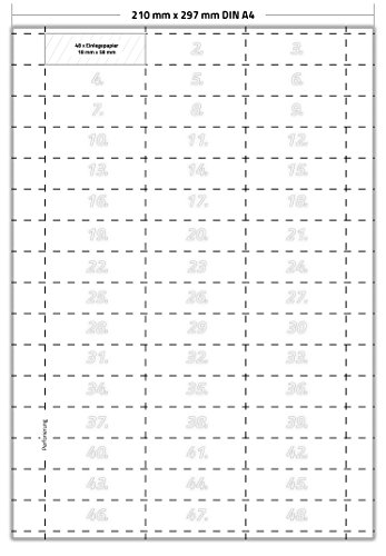 240 x Karteo® Hängeregister Einlegepapier | Einstecketiketten | Einleger 160g/m² | weiß hochwertiges perforiertes Papier 58 x 18 mm auf 5 Stk. DIN A4 Bögen zum Selbstbedrucken