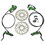 JUIN TECH DB1 MTB E-Bike Hydraulic Dual-Piston Disc Brake Set(F+R) w/160mm Rotor, Green, JT2267