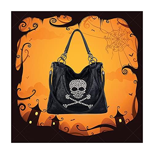 UTO Women Skull Tote Bag 3 Way Top Handle Handbag PU Leather Purse Crossbody Shoulder Bags B