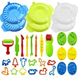 Liuer 32 Stück Knetwerkzeug Teig Plastilin Werkzeuge Modellierwerkzeug Knete Zubehör Ausstechformen Küchenspielzeug für Knete Spielzeug für Kinder(Zufällige Farbe)