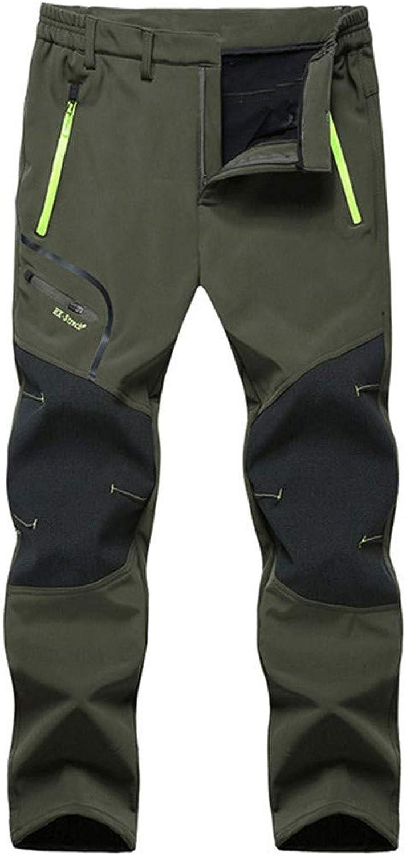 IEas& x24C4;n Men Outdoor Long Pants,Men Mid Waist Patchwork Waterproof Windproof Camping Hiking Warm Thick Trousers Pants