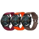 Pack de 3 pulseras de 22 mm compatibles con Huawei Watch GT 2 / Samsung Galaxy Watch 46 mm / Gear S3 correa de reloj de silicona suave, cierre rápido, repuesto transpirable DE71003 (color 22-24)
