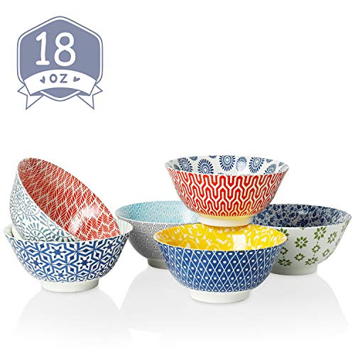 Amazingware Porcelain Bowls - Perfect for Cereal, Soup, Salad and Pasta, Set of 6, Assorted Designs (Best Porcelain In The World)