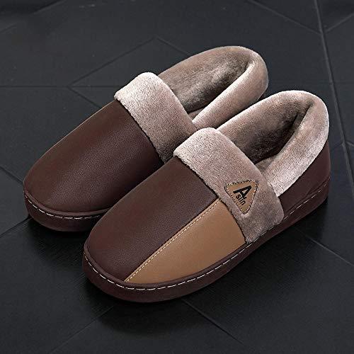 YUTJK Unisexo Zapatillas de Estar por casa para Inverno Caliente de Peluche Zapatos Memory Foam,Zapatos de algodón de Cuero PU-Brown_7/7.5UK