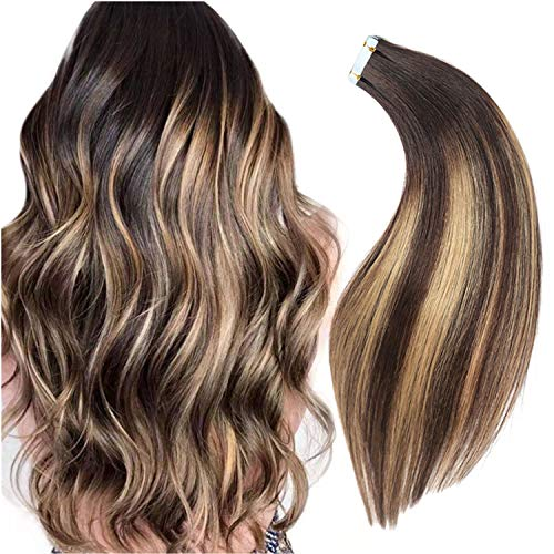 Rinboool Balayage Tape In Hair Extensions, 18'' 50g, Real Natural Remy...