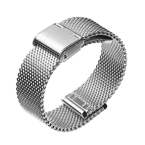 ZXF Correa Reloj, Reloj Band 20mm Reloj Correa 22mm Acero Inoxidable Milanesa Reemplazo De Malla Pulsera (Band Color : Silver, Band Width : 20mm)