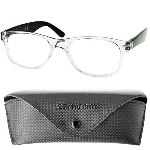 Blauwlichtfilter met Transparante Montuur, GRATIS Brillenkoker, Plastic Brillenpootjes (Zwart), Leesbril en Computerbril Mannen en Vrouwen +2.5 Dioptrie