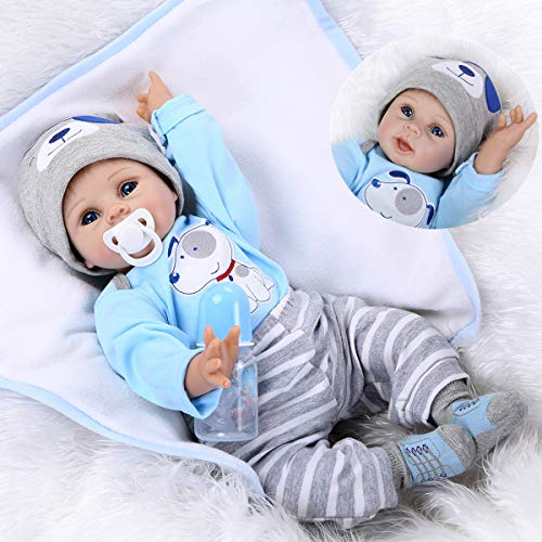NPKDOLLS Reborn Baby Doll Soft Silicone Vinyl Baby Boy 22inch 55cm Mouth Cute boy Wearing Toy Blue Dog Cute Doll Gift Set for Ages 3+
