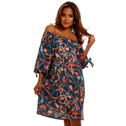 YC Fashion & Style Damen Leinen Kleid Tunika mit Allover-Muster und Carmen Ausschnitt Strandkleid Sommer Freizeit oder Party Made in Italy (One Size, Marine)