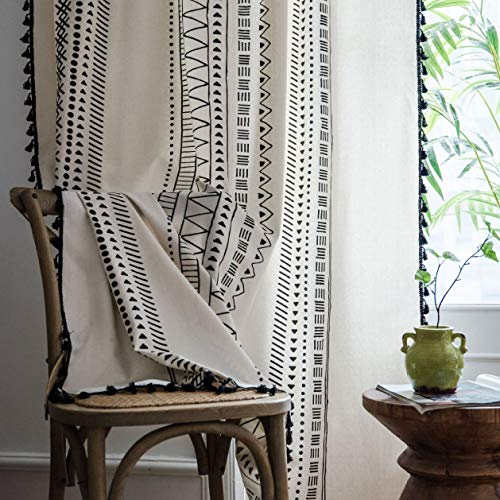 Light Beige Geometric Curtain with Black Tassel for Living Room Semi Blackout Blinds Bedroom Bay Window Bohemian Blending Linen Finished Curtain Buckle/Tube Curtain Room Divider 1 Panel W59 L86 Inch